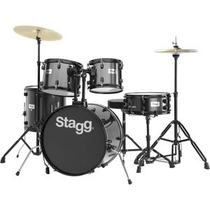 "Stagg TIM120B BK 5-piece 6-ply basswood 20"" standard drum set with hardware & cymbals"