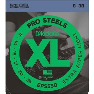 D'Addario EPS530 XL ProSteels Round Wound, Extra-Super Light, 8-38