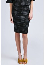 Allison Wonderland Malba Black Print Pencil Skirt