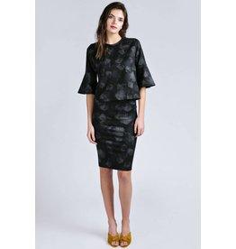Allison Wonderland Pergamon Bell Sleeve Black Floral Top
