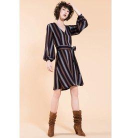 Jennifer Glasgow Roberta Aline Striped Navy Dress