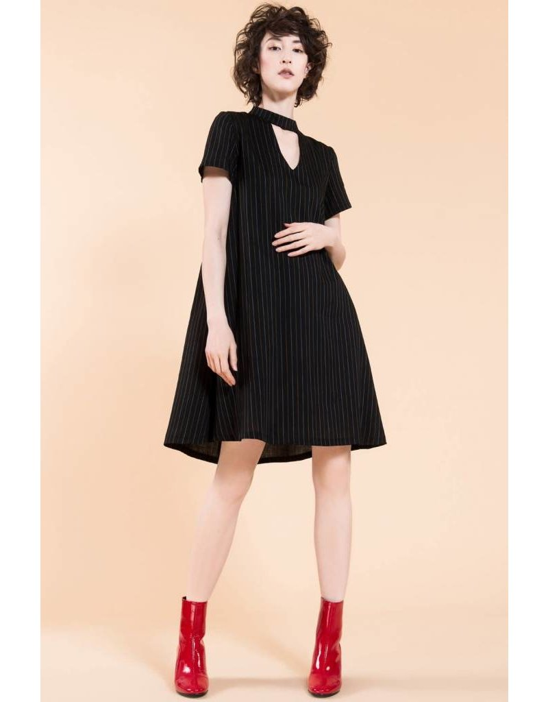 Jennifer Glasgow Chaka Grey Striped Swing Dress
