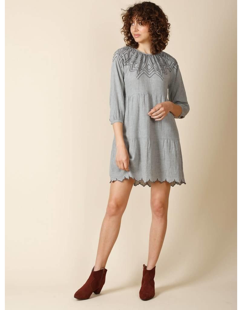 Indi & Cold Mini Embroidered Dress