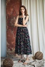 Maison De Ines Midi Halter Dress Navy Print