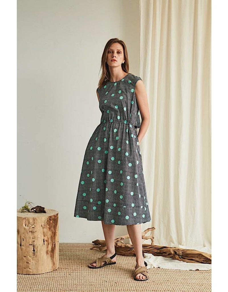 Maison De Ines Midi Dress Open Back Green