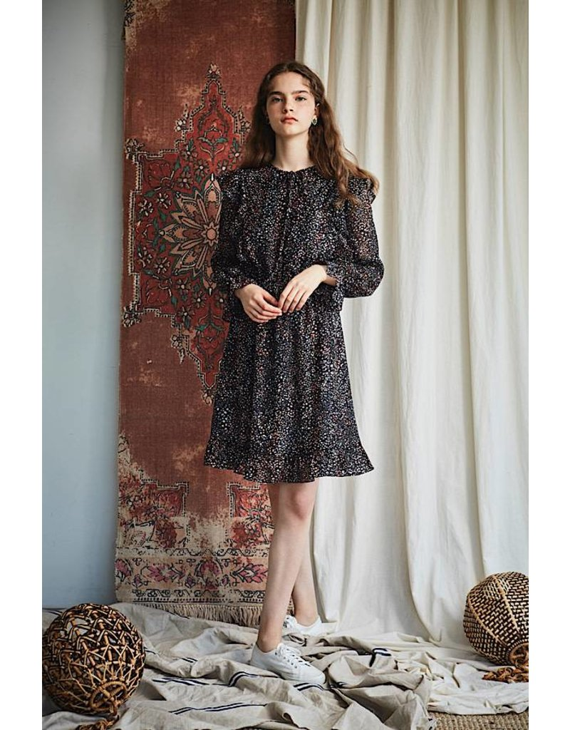 Maison De Ines Mini Floral Dress with Sleeves Navy