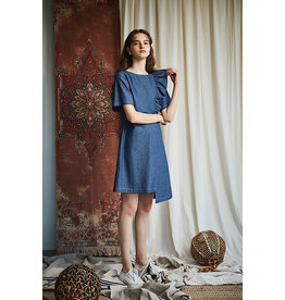 Maison De Ines Mini Dress with Ruffles Denim