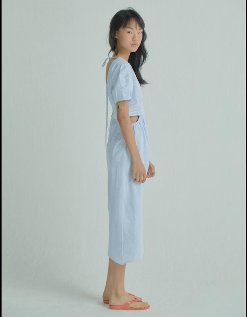 Wnderkammer Midi Dress Blue Stripe