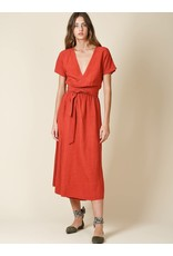 Indi & Cold Maxi Wrap Dress Rust