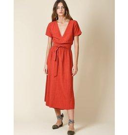 Indi & Cold Maxi Wrap Dress Rust
