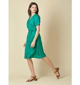 Indi & Cold Belted Midi Dress Green