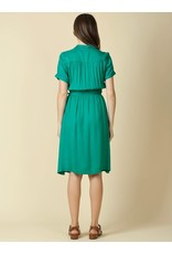 Indi & Cold Belted Midi Dress Green