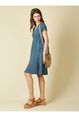 Indi & Cold Shift Dress with Ties Blue