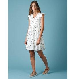 Indi & Cold V-neck Flare Dress White