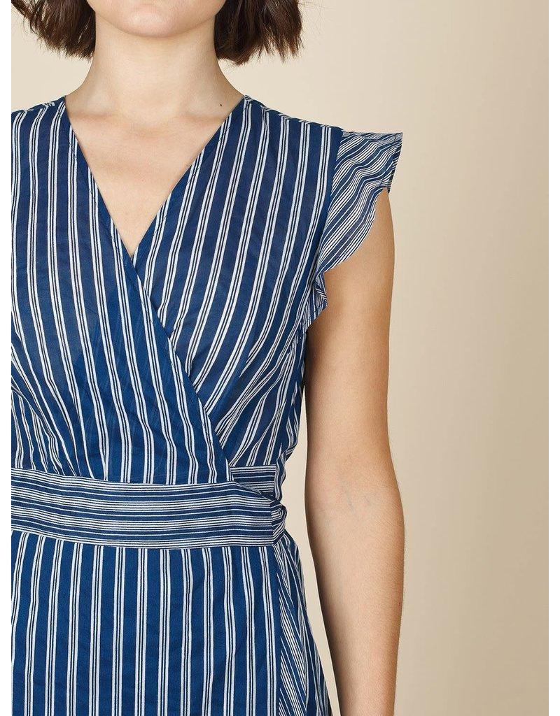 Indi & Cold Mini Wrap Dress Blue
