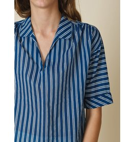 Indi & Cold Short Sleeve Top Blue Stripe