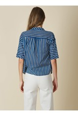 Indi & Cold Short Sleeve Top Blue Stripe