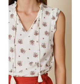 Indi & Cold Sleeveless Top with Ties Beige Floral