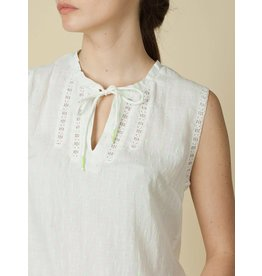Indi & Cold Sleeveless Top with Ties White Print