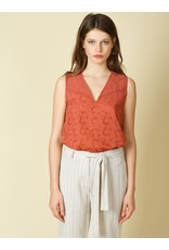 Indi & Cold Sleeveless V-neck Top Rust