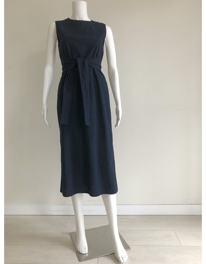 Bonsui Heize Smoked Belted Dress Navy