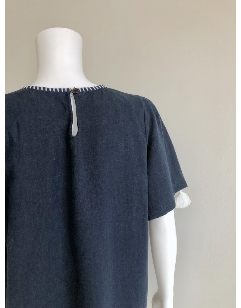 Bonsui Embroidered Tassel Dress Navy