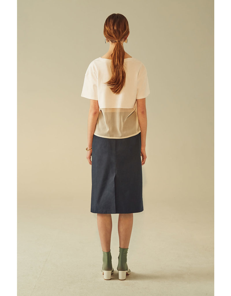 UR NAVY Silk Panel Midi Skirt Navy