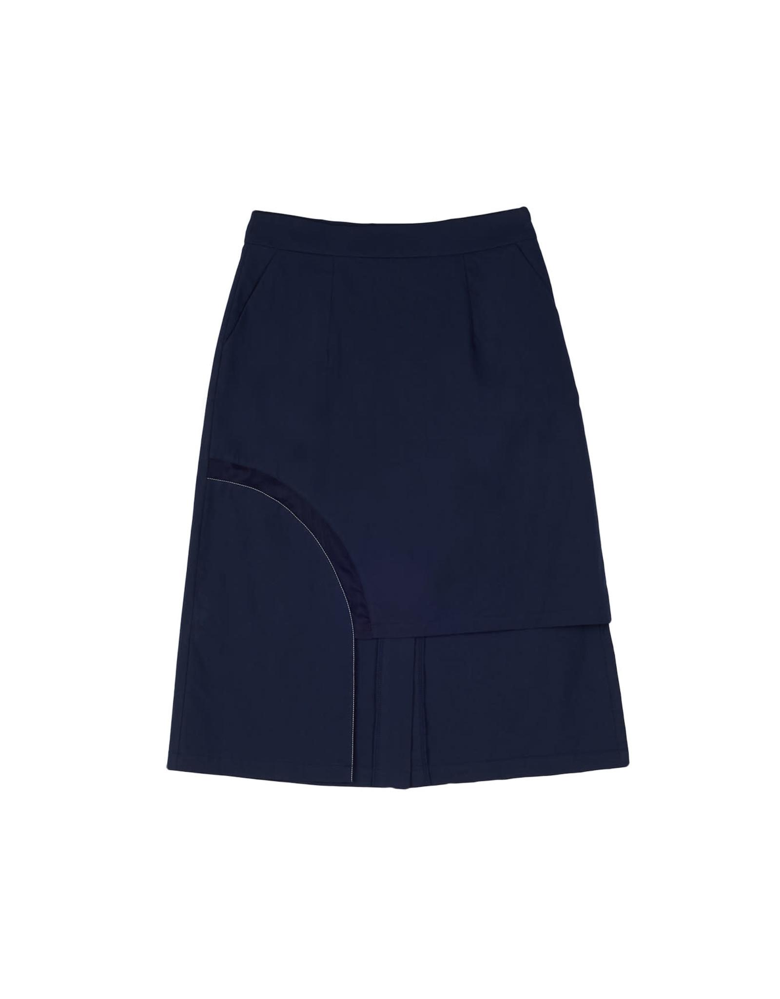 UR NAVY Silk Panel Midi Skirt Navy