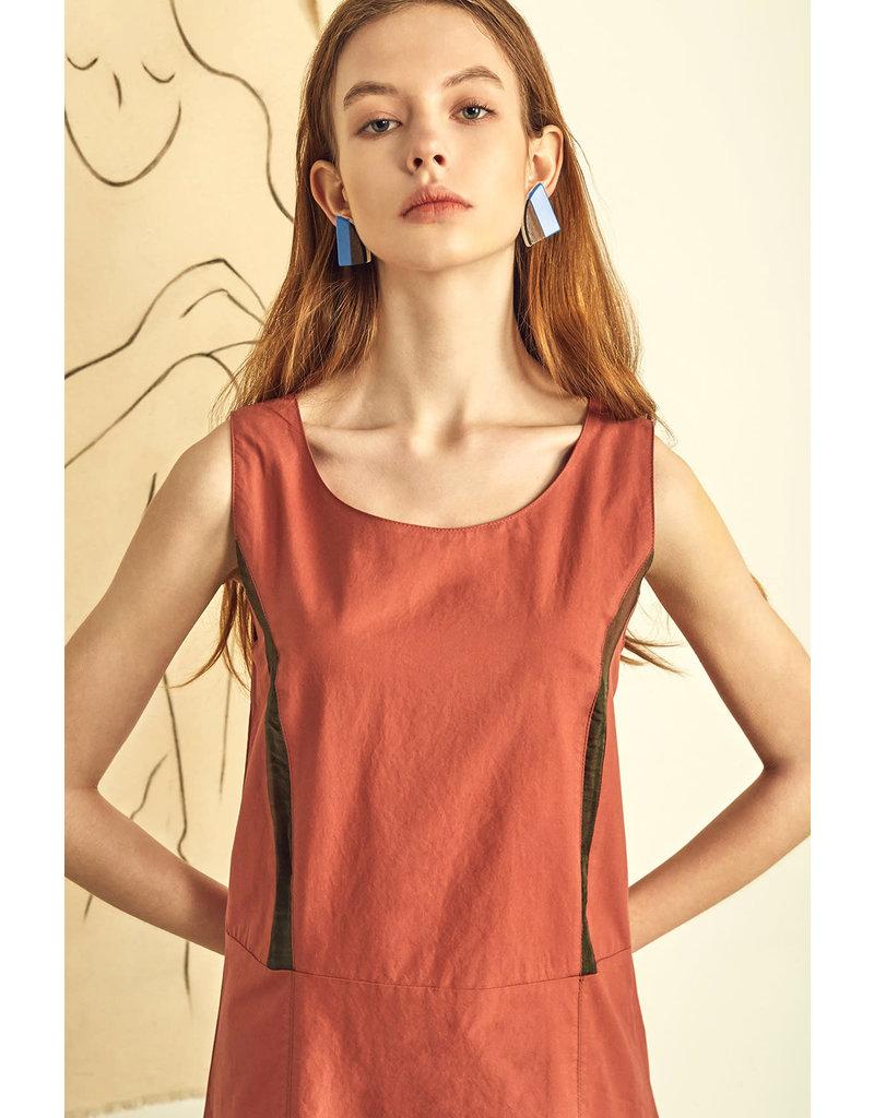UR NAVY Double Slit Aline Dress Brick