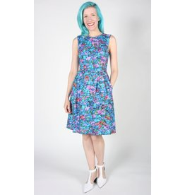Birds of North America Oceanite Sleeveless Dresss Blue Floral