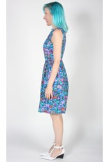 Birds of North America Oceanite Sleeveless Dresss Blue Floral