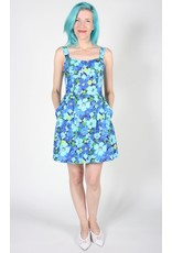 Birds of North America Akikiki Halter Dress Blue Floral