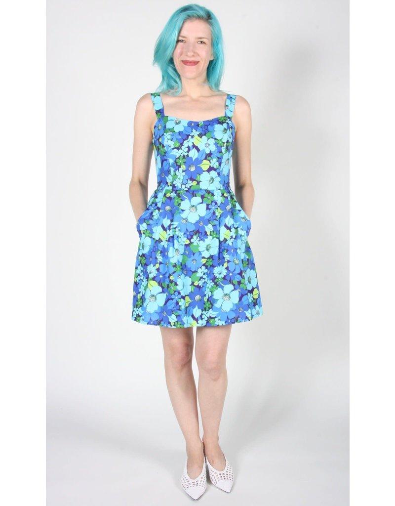 Birds of North America Akikiki Halter Dress Blue Floral
