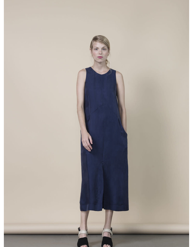 Jennifer Glasgow Baltic Midi Navy Dress