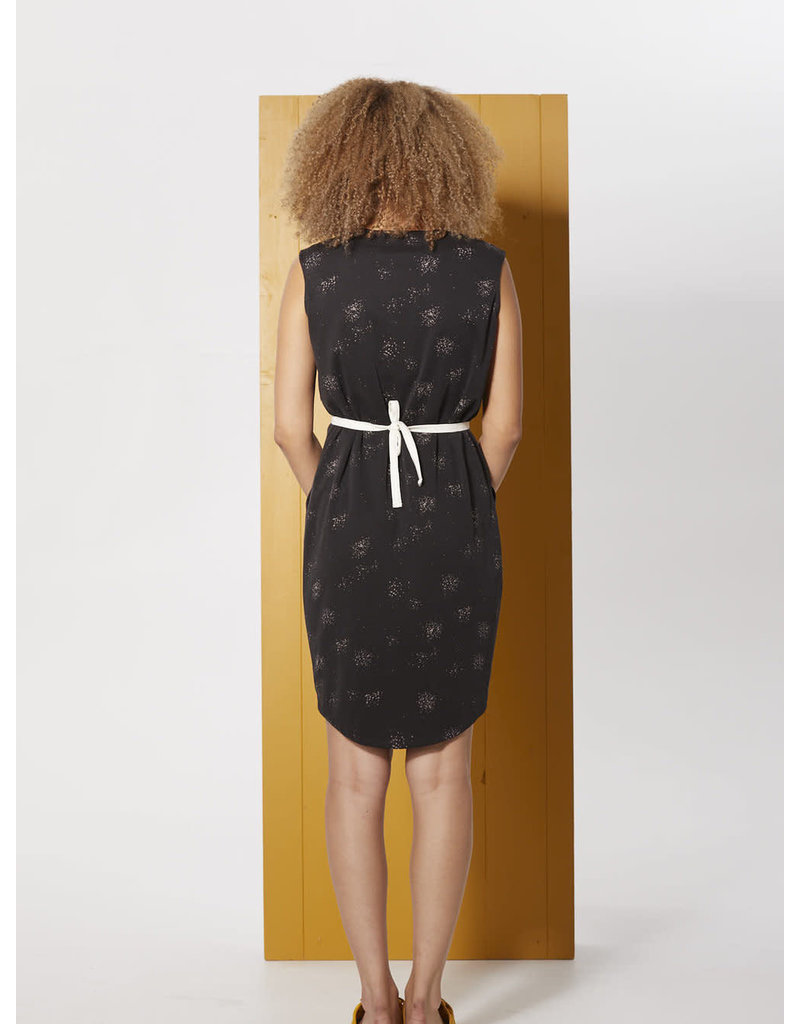 Cokluch Passiflore Round Hem Black Print Dress