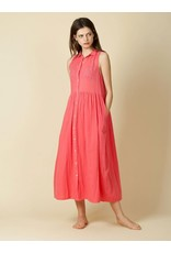 Indi & Cold Maxi Dress with Buttons Coral