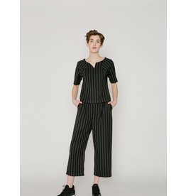 Allison Wonderland Hall Wide Leg Pants Black Stripe