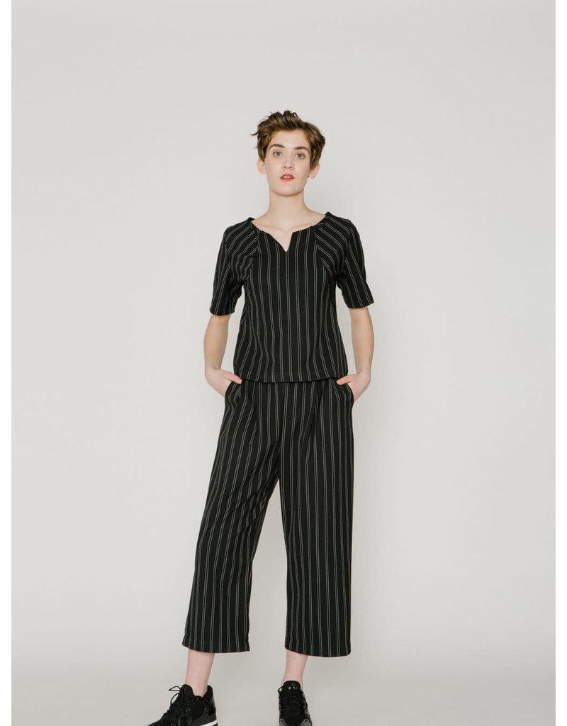Allison Wonderland Hall Wide Leg Pants Black Stripe