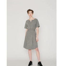 Allison Wonderland Ashford Pleated Skirt Grey Stripe