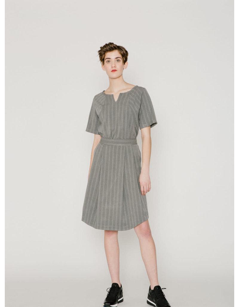 Allison Wonderland Ashford Pleated Skirt Grey Stripe