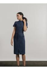 Jennifer Glasgow Dahomey  Madarin Collar Dress Denim