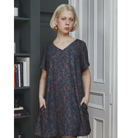 Marigold Leo Aline Vneck Dress Blue Print