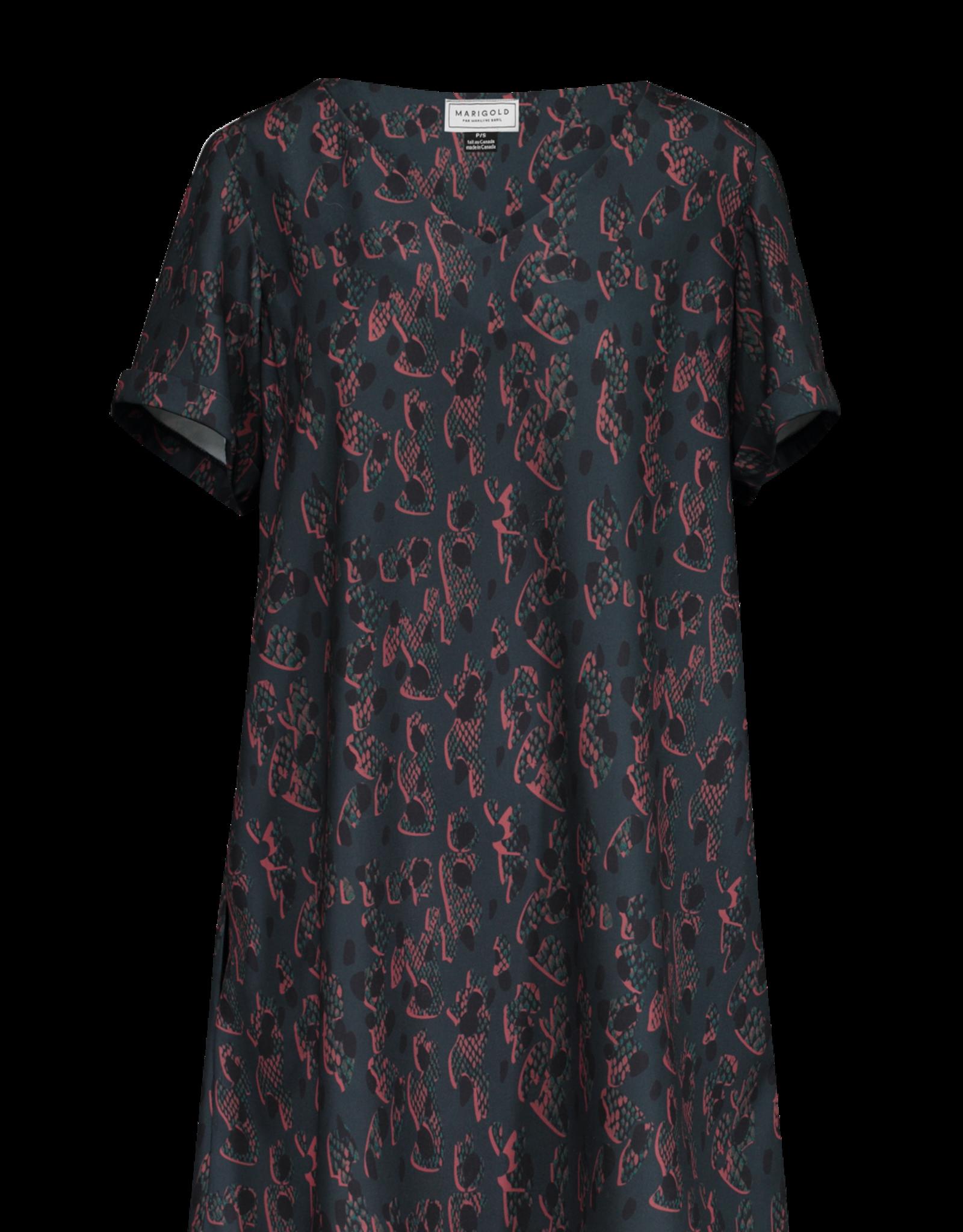 Marigold Leo Aline Vneck Dress Blue Print