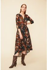 Siyama High Low Dress Beige Print