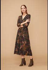 Fanfare Vneck Dress Khaki Print