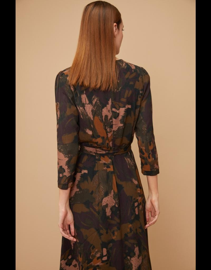 Louizon Fanfare Vneck Dress Khaki Print