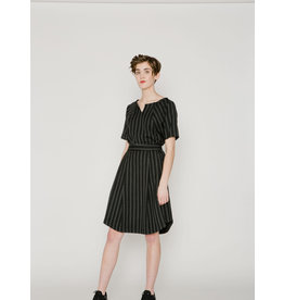 Allison Wonderland Ashford Pleated Skirt Black Stripe