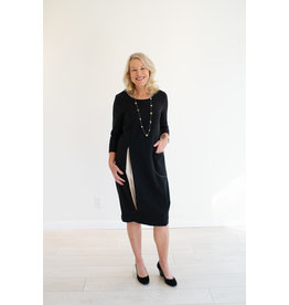 Naya Midi Shift Dress Black