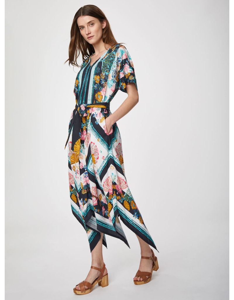 Thought Rhoda Midi Vneck Dress Navy Print