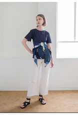 Nu Parcc Double Knot Sash Button Top Navy
